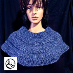 Shoulder Shawl – Hand Knit Chunky Warm Knit in Alpaca/Wool/Acrylic blend in Denim Blue