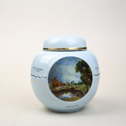 A POWDER BLUE CERAMIC TEA CADDY