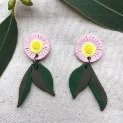 Gum Leaf and Flower Earrings