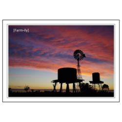 Red Sky Windmill Photo Greeting Card