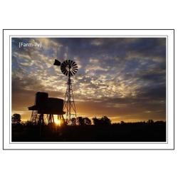 Windmill Tank Sunset Photo Greeting Card