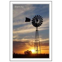 Windmill Sunset Photo Greeting Card