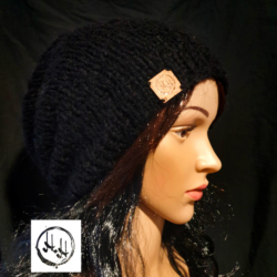 """Oslo"" Hand Knit Slouch/Slouchy Unisex Beanie in Soft Alpaca blend Jet Black"