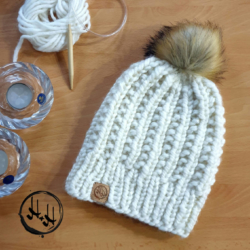 """Malmø"" Hand Knitted Beanie with Faux Fur Pom Pom in Cream Lovely Soft & Warm Acrylic"