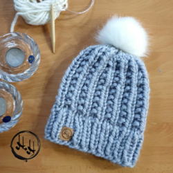 """Malmø"" Hand Knitted Beanie with Faux Fur Pom Pom in Light Grey Lovely Soft & Warm Acrylic"
