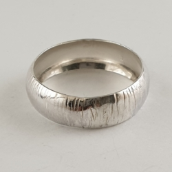 Sterling Silver Striated Domed Ring