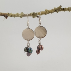 Sterling Silver Circle and Coloured Pearl Earrings