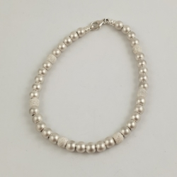 Sterling Silver Brushed Bead Bracelet