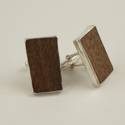 Sterling Silver and Walnut Cufflinks
