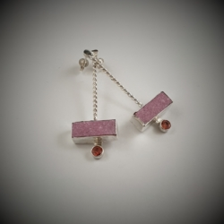 Sterling Silver Studs with Cobalto Calcite Druzy (Africa) and Burmese Spinel