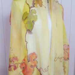 Handpainted silk scarf – Grape leaves with border