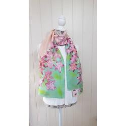 Handpainted silk scarf – Tiger lillies in burgundy