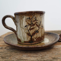 Artisan Handmade Pottery Coffee Cup and Saucer with Handmade Mulberry Paper Packaging