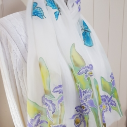 Handpainted silk scarf – Orchids and butterflies
