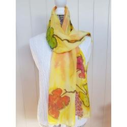 Handpainted silk scarf – Grape leaves