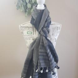 Handwoven woollen Scarf/Shawl – Dark grey