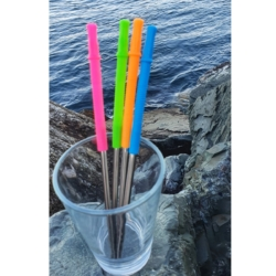 Stainless Steel Drinking Straw Set with silicone tips