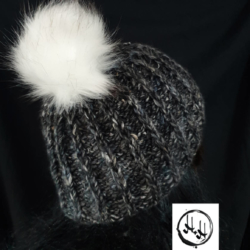 """Varde"" Hand Knit Beanie & Snood / Cowl set in Super Soft Wool, Alpaca & Silk blend in Dark Grey Marble with White Faux Fur Pom Pom"