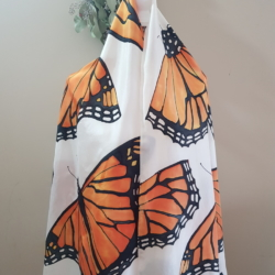 Handpainted silk scarf – Monarch mania