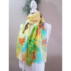 Handpainted silk scarf – Bird of paradise