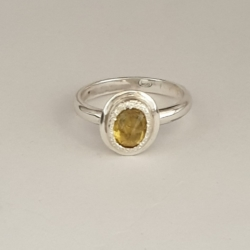 Sterling Silver Stack Ring with Yellow Sapphire