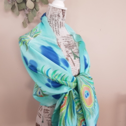 Handpainted silk scarf – Feathers