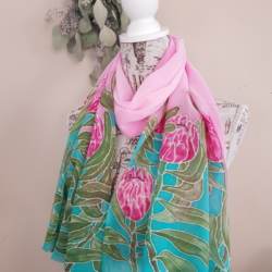 Handpainted silk scarf – Proteas