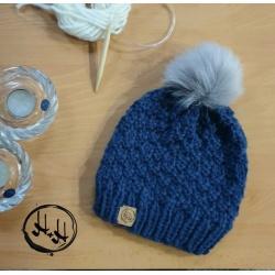 """""""Esbjerg"""" – Chunky Beanie with Silver Faux Fur Pom Pom in Denim Blue – Alpaca/Wool/Acrylic blend -Unisex Boys or Girls"""