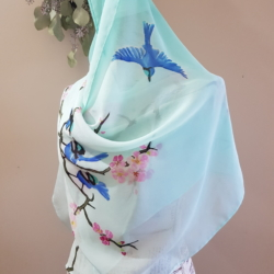 Handpainted silk scarf – Blue wrens, pink blossoms