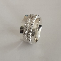 Sterling Silver Fluted Edge Ring with 2 bands