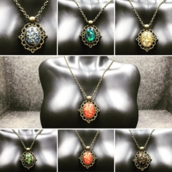 Filigree with Various Colour Gem Necklaces
