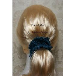 Sparkle – Peacock Blue – Elegant Hair Scrunchie