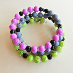 Memory wire Bracelet in Lime green Grey and Fuchsia Pink