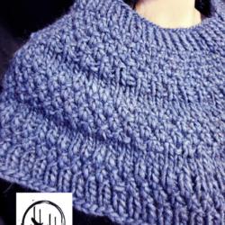 Shoulder Shawl – Hand Knit Chunky Warm Knit in Alpaca/Wool/Acrylic blend in Denim Blue