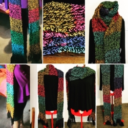 Handknitted Extra Long Fisherman Rib Scarf / Wrap