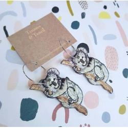 Embroidered Koala Dangle Hoop Earrings By Tenasee and Teneil