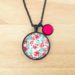 Handmade Anemone Floral Necklace with charm – FREE POSTAGE