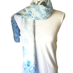 Blue and White scarf – FREE POSTAGE