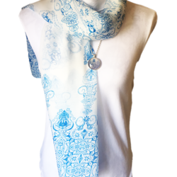 Blue and White scarf with matching necklace set – FREE POSTAGE – 14 other designs available in our store.