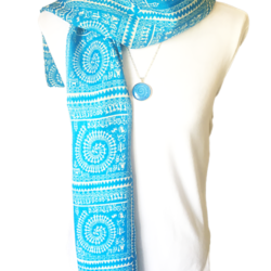 Blue Grids scarf with matching necklace set – FREE POSTAGE