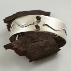 Sterling Silver Cuff Bracelet with Tasmanian Black Spinel and Rhodolite Garnet