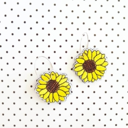 Embroidered Sunflower Dangle Hoop Earrings By Tenasee and Teneil