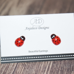 Ladybird – Red Earrings – 13mm x 9mm – Hypo-allergenic Studs