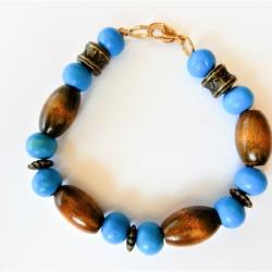 Blue Wood and Bronze Bracelet