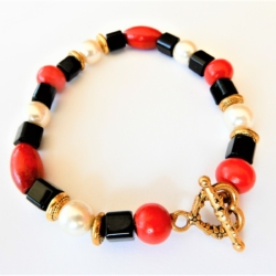 Red Black & White Bracelet