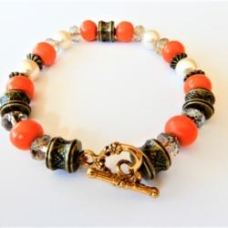 Wood Pearl & Brass Bracelet