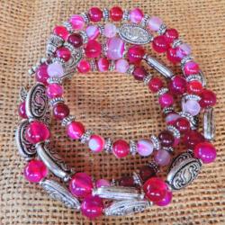 Fuchsia Agate Wrap Barcelet