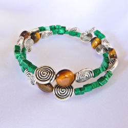 Tiger Eye & Malachite Wrap Bracelet