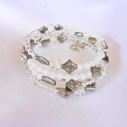 White & Crystal Wrap Bracelet