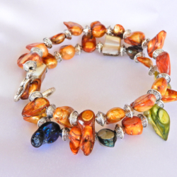 Coloured Freshwater Pearl Wrap Bracelet
